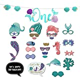 Mermaid Photo Booth Props Party Favor Kit, 26Pcs DIY Mermaid Photo Props with 1Pcs Mermaid Banner for Wedding Baby Shower Birthday Party