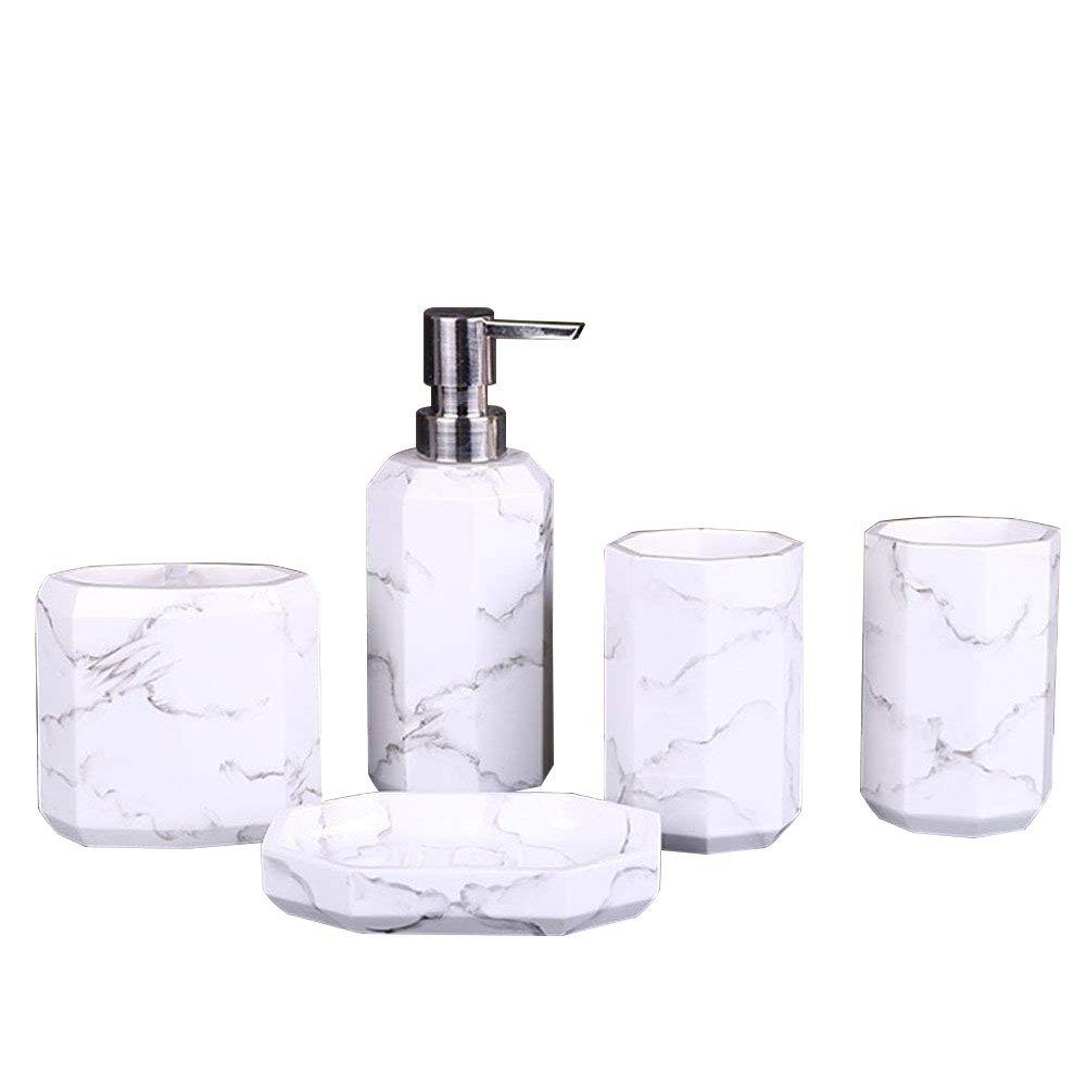 LUANT Creative Bathroom Accessories Set, 5 Piece Bath Ensemble, Bath Set Collection Features Soap Dispenser Pump, Toothbrush Holder, Tumbler, Soap Dish