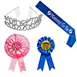 Baby : Mother To Be Tiara Hearts Crown + Mom To Be Sash + Mom To Be Pin + Dad To Be Pin - Baby Shower Party Favors Decorations Gift For Boy or Girl (Blue, OneSize)