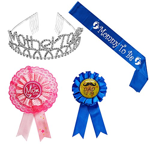 Mother To Be Tiara Hearts Crown + Mom To Be Sash + Mom To Be Pin + Dad To Be Pin - Baby Shower Party Favors Decorations Gift For Boy or Girl (Blue, OneSize) -