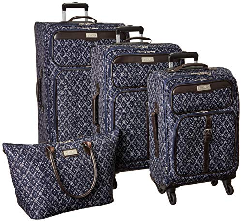 Chaps 4 Piece Luggage Spinner and Tote Set, Navy Tile