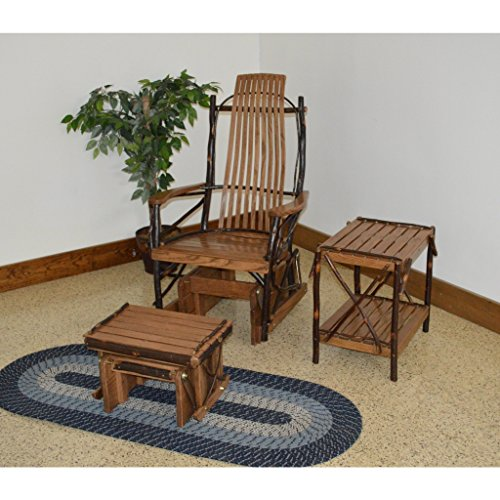 A & L Furniture Co. Amish Bentwood Hickory Glider Rocker with Gliding Ottoman and End Table Set - Ships Free in 5-7 Business Days
