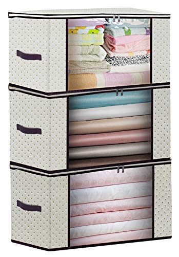 Clothes Organizer Storage for Closet Comforter blanket Bedding, 240gsm Thick Fabric Foldable Storage Bag Containers with Clear Window and Sturdy Zipper 50 x 40 x 25 cm, 3 Pack Beige