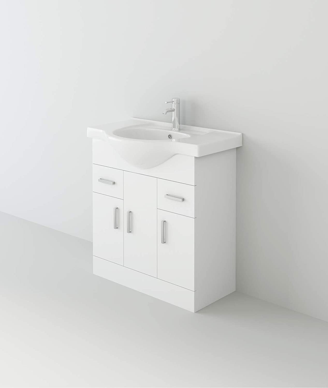 1400mm VeeBath Linx Vanity Basin Cabinet /& Drawer Cupboard Storage Unit White Gloss Bathroom Furniture Combination Set