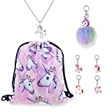 DRESHOW Unicorn Gift Sets Girls Drawstring Backpack/Necklace/Key Chain/Pack 7 Review
