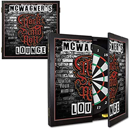Amazon Com Thousand Oaks Barrel Co Personalized Rock And Roll Lounge Dartboard Cabinet Set With 6 Steel Tip Darts Home Bar Wall Art Game Room Family Fun Sports Outdoors