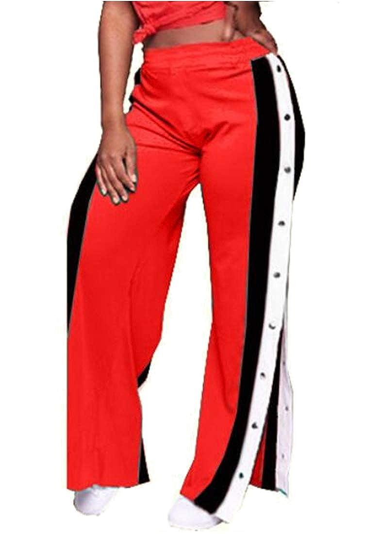 Jofemuho Womens Side Slit Color Block Casual Buttons Trim Jogger Pants
