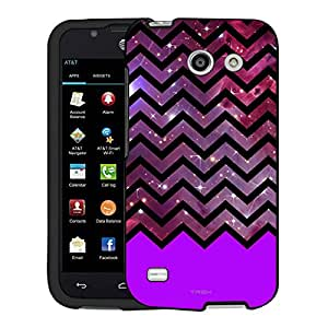 AT&T Fusion 3 Case, Snap On Cover by Trek Nebula on Chevron Black White Purple Ribon Case