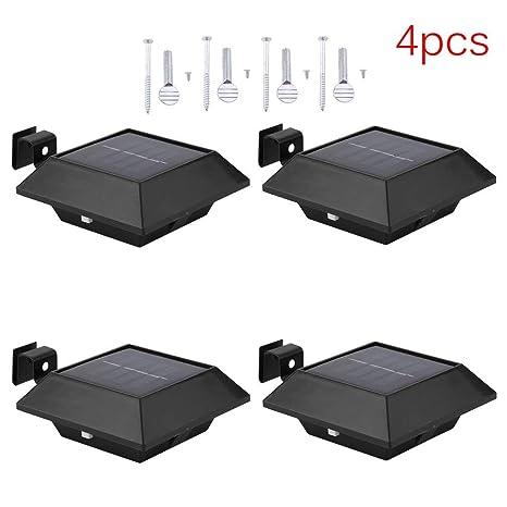 Homgarce 4PCS 6 LED Lámpara Solar Jardín Impermeable Seguridad Luces Solares para Jardín, Patio,