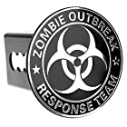 Chrome Metal Embossed Emblem Trailer Hitch Cover (Fits 2″ Receivers, Zombie Outbreak)