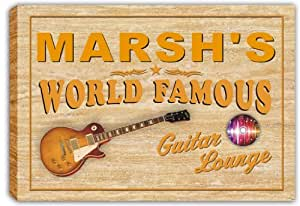 scpf1-1457 MARSH'S World Famous Guitar Lounge Stretched Canvas Print Sign
