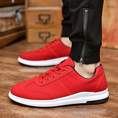 all'abrasione Resistente Scarpe Color casual Bianca Up uomo Canvas Dimensione Lace MUS Mocassini da Red Suola Low 8 Sneaker piatta Top amp;Baby Sunny ZB5w6q