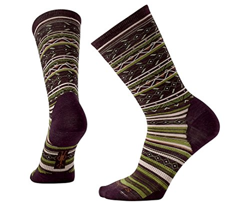 Smartwool Women's Ethno Graphic Crew Socks (Bordeaux Heather) Large