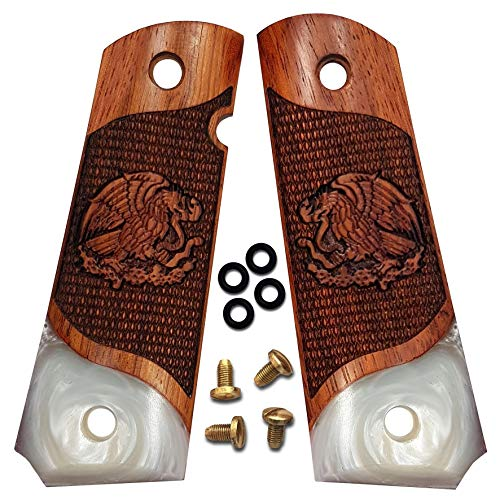 - 1911 Grips Full Size by Dan Eagle Faux Pearl & Solid Rosewood Eagle Design Fits Government and Commander Colt Remington Sig RIA S&W