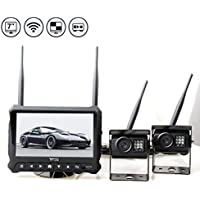 RedWolf Wireless Backup Camera System Built-In DVR, 7 Quad View Display For Truck, Trailer, Skid Steer, Forklift Tractor, RV, Pickup,Commercial Vehicles,Buses