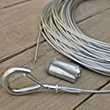 Globe Light Suspension Kit, Galvanized Steel Cable, 60 ft., Attachments Included