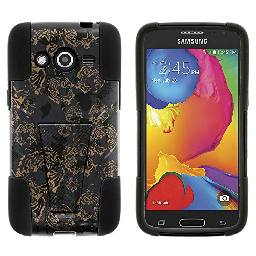 Samsung Galaxy Avant Case, All-Around Barrier STRIKE Impact Built In Kickstand Case Speciality Graphic Pattern for Samsung Galaxy Avant SM-G386T (T Mobile, MetroPCS) from MINITURTLE | Includes Clear Screen Protector and Stylus Pen - Tigers of the Night