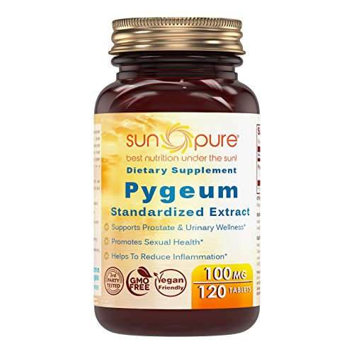 Sun Pure Premium Quality Pygeum 100 mg Tablets Glass Bottle 120 Count Per Bottle - Supports Prostate & Urinary Wellness- Supports Sexual Health - Helps To Reduce Inflammation