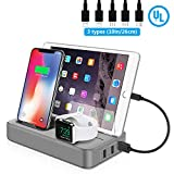 USB Charging Station for Multiple Devices,50 W Fast Charge Charging Dock Organizer with for Cell Phones, Smart Phones, Tablets, and Other Electronics-5 Short Mixed Cables Included