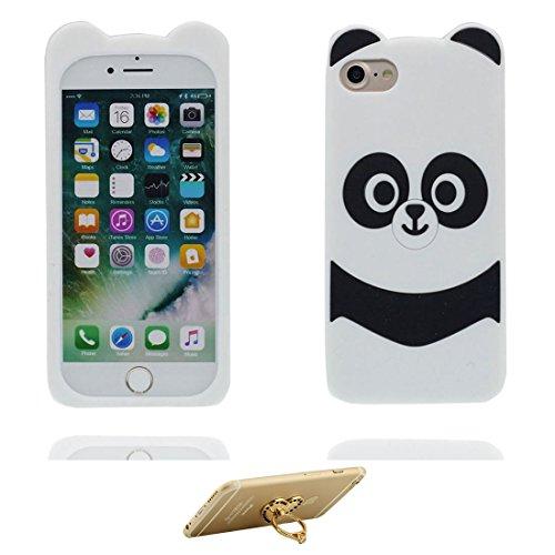 """iPhone 7 Coque, [ TPU Material Flexible 3D Panda ] Étui pour iPhone 7 (4.7""""), Dust Slip Scratch Resistant, iPhone 7 Case & ring Support de téléphone"""
