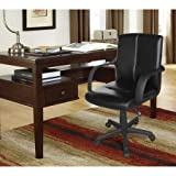 Mainstays Tufted Leather Mid-Back Office Chair, Black