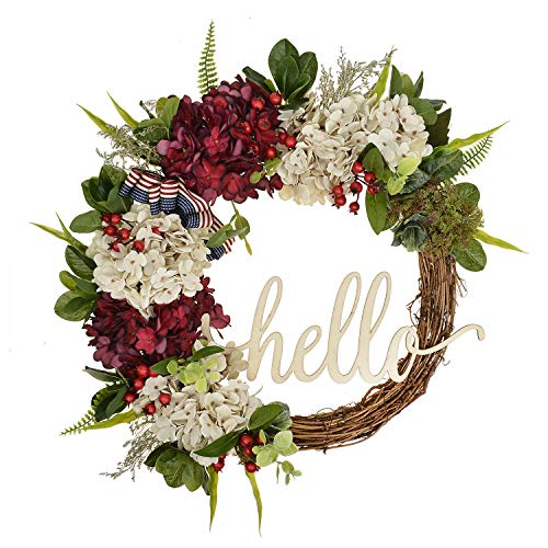 FAVOWREATH 2018 Vitality Series FAVO-W125 Handmade 17 inch Hello Letter,Hydrangea,Multi Flowers,Berry,Leaf Grapevine Wreath Summer/Fall Front Door/Wall/Fireplace Floral Hanger Home Every Day Decor]()