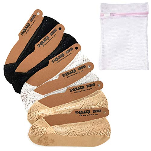 EPLAZA 6 Pairs Silicone Grip Women Lace No Show Socks Non-Skid + 1 Wash Bag (c)