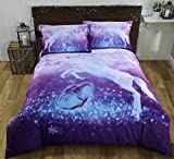 Alicemall 3D Unicorn Bedding Elegant White Unicorn Butterfly Flying Snowflake Print Duvet Cover Set, Soft and Breathable 4 Pieces Purple Bedding Set, King Size Bed Set (King, Purple Unicorn)