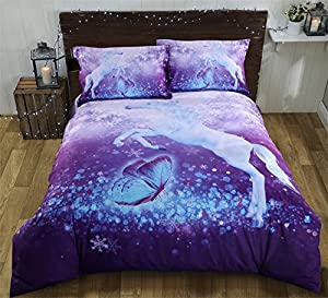 Alicemall 3D Unicorn Bedding Elegant White Unicorn Butterfly Flying Snowflake Print Duvet Cover Set, Soft and Breathable 4 Pieces Purple Bedding Set, Full Size College Bed Set (Full, Purple Unicorn)