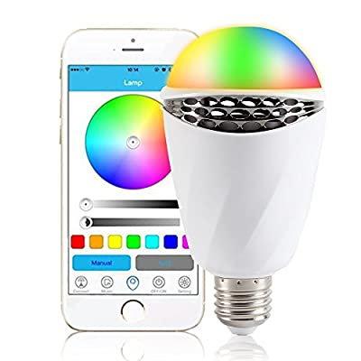 IYOUWE Bluetooth Smart RGB LED Light Bulb, Music Speaker Night Light, Smartphone Controlled Multicolored Color Changing Lights Works with IPhone, IPad, Android Phone and Tablet