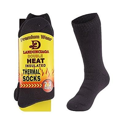 LANDUNCIAGA Men's Warm Thermal Socks Summer Boot Heated Insulated Fur Lined Bed Socks Hiking Hot Socks