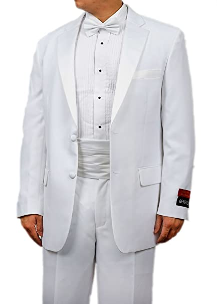 8add149c8019 New Era Factory Outlet Mens White Tuxedo Suit with Tux Shirt and Bowtie (36  Regular