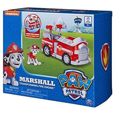 Paw Patrol Marshall's Transforming Fire Truck with Pop-out Water Cannons, for Ages 3 and Up: Toys & Games
