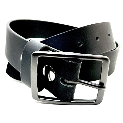 Gunmetal Buckle Handmade Custom Black Leather Belt 1.25 and 1.50 Inch Width American Leather Belt Co.