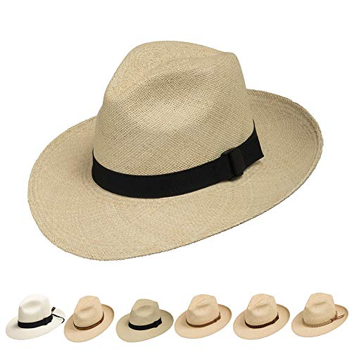 FEDORA PACKABLE FOLDABLE Panama Straw Hat CLASSIC 7 3/8