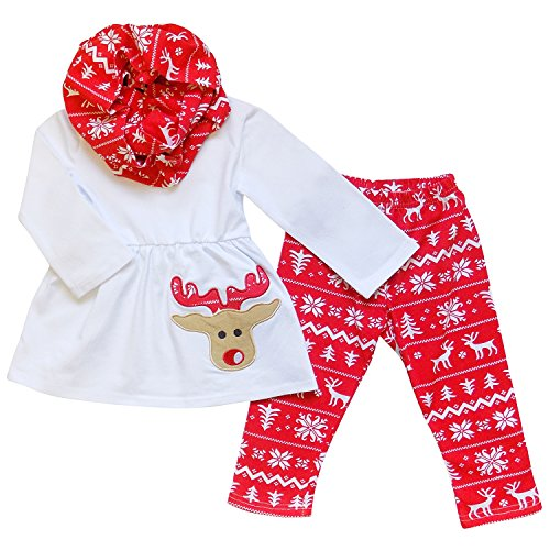 So Sydney Toddler Girls 3 Pc Christmas Santa or Reindeer Outfit & Infinity Scarf (L (5T), Rudolf Reindeer Red & White)