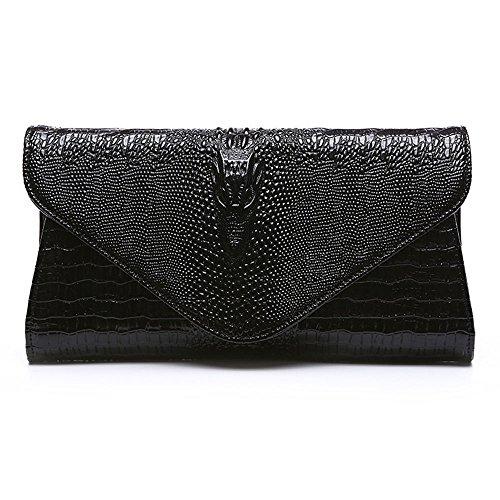 Bag Purse Shoulder Women's Clutch Black Handbag Boshiho Leather Evening Bags Clutch Genuine Envelope qPnZx80