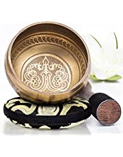 Tibetan Singing Bowl Set — Easy to Play with New Dual-End Striker & Cushion ~ Creates Beautiful Sound for Holistic Healing, Meditation & Relaxation ~ Bronze Design