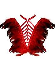 Women's Feather borst Strappy harnas Epaulette Angel Wing Punk Open Body Cage Gothic Burning Rave kleding