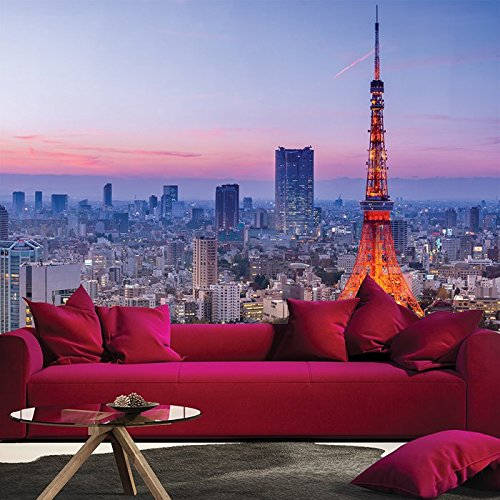 Tokyo Tower & Wolkenkratzer, Nacht Japan Stadt Tapete Reise-Foto-Tapete in 8 Größen erhältlich Riesig digital
