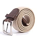 Canvas Elastic Fabric Woven Stretch Multicolored Braided Belts 2041-Beige-L