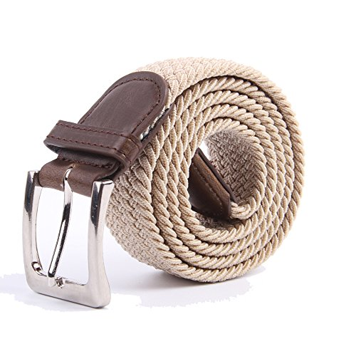 Beige Stretch Belt - Canvas Elastic Fabric Woven Stretch Multicolored Braided Belts 2041-BE-M