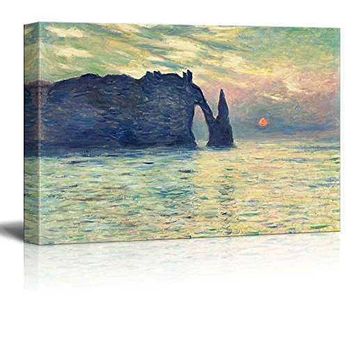 Famous Art Reproductions - wall26 The Cliff, Etretat, Sunset by Claude Monet - Canvas Print Wall Art Famous Painting Reproduction - 24