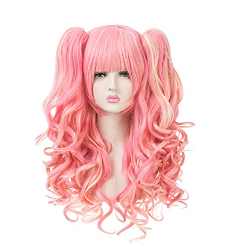 EDENKISS Women Cosplay lolita Clip on Two Ponytails Long Hair Replacement Full Head Wigs (Fushia Beige MC139C)