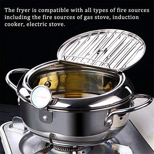 Olla freidora Tempura, freidora profunda con termómetro y tapa, olla doméstica con colador de aceite Mini sartén, para cocina de cocina Estufa de gas para el hogar (plata)