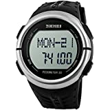 SKMEI Multifunctional Heart Rate Tracking 3D Pedometer LED Digital Black Dial Men's Wrist Watch
