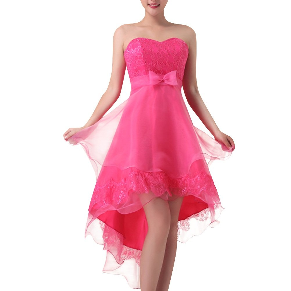 Dasior Women's Sweetheart Organza High Low Bridesmaid Dress with Bow Lace-up M/US4 Fuchsia