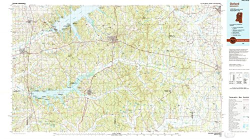 Oxford MS topo map, 1:100000 scale, 30 X 60 Minute, Historical, 1990, updated 1991, 24.1 x 43.4 IN - Tyvek