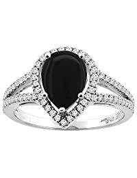 14K Gold Natural Black Onyx Ring Pear Shape 9x7 mm Diamond Accents, sizes 5 - 10