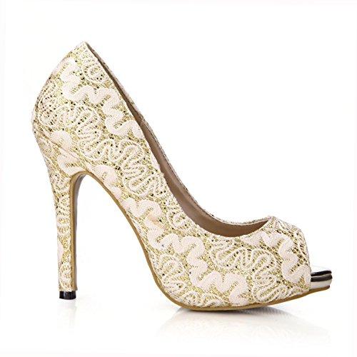 plata neto mujeres verano zapatos 4U® Sandalias de 11CM básicas de goma suela tacón de de las EU35 de bombas oro Peep encaje Best toe alto cómodas Oro de Aw74fqYwx